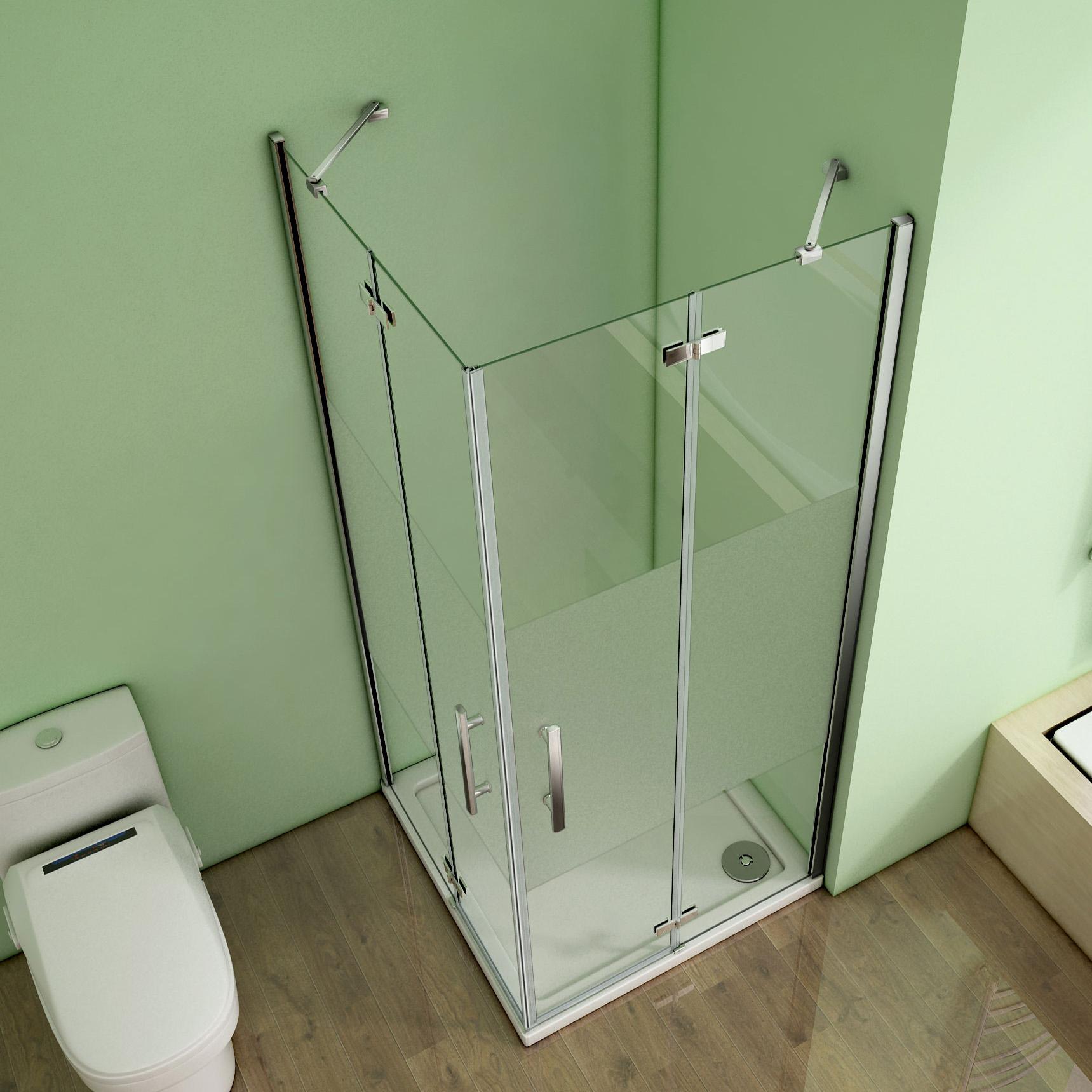 Duschkabine Duschabtrennung Scharniertür NANO Milchglas Eckeinstieg Dusche HS