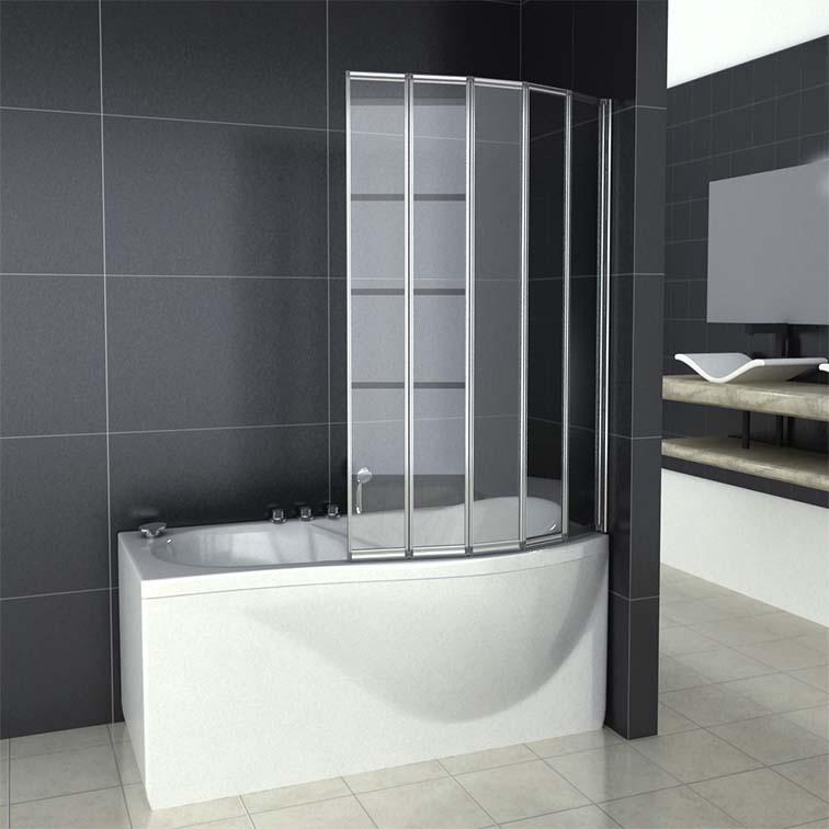 1 2 3 4 5 Fold Pivot Folding Bath Shower Screen 1400 Glass