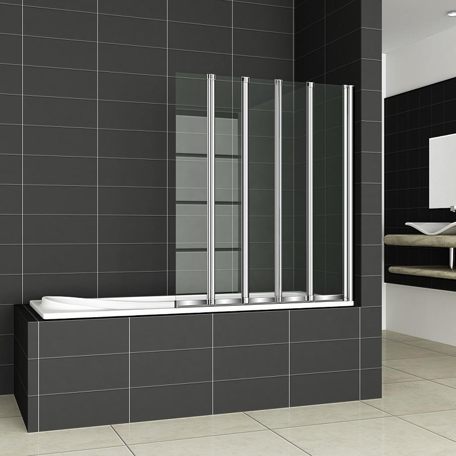 4/5 Fold Aica Chrome Folding Bath Shower Screen 6mm Glass