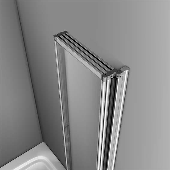 Aica 4 / 5 Fold Over Bath Folding Shower Screen 4mm Glass