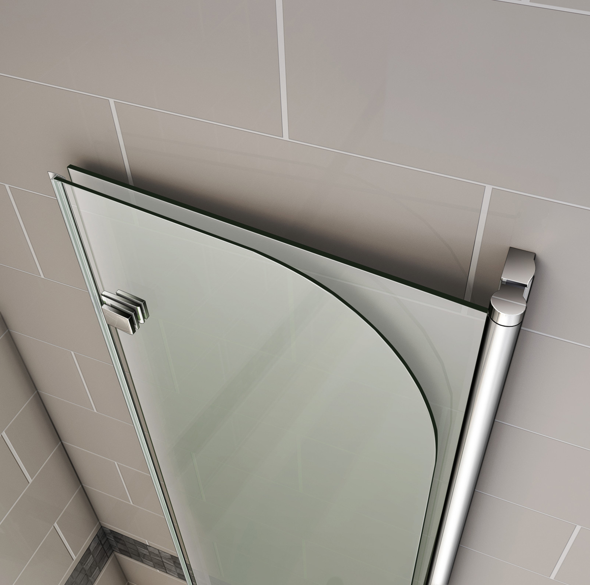 Two Panel Sliding Shower Bath Screen 180 176 Hinge Chrome 2 Fold Bath Shower Screen Door Panel 6mm