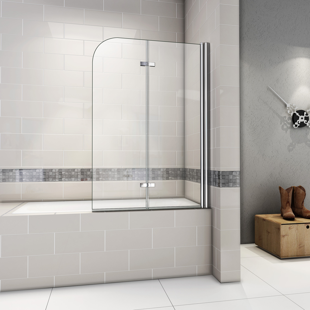1000x1400mm 180 Hinge 2 Fold Bath Shower Screen Door