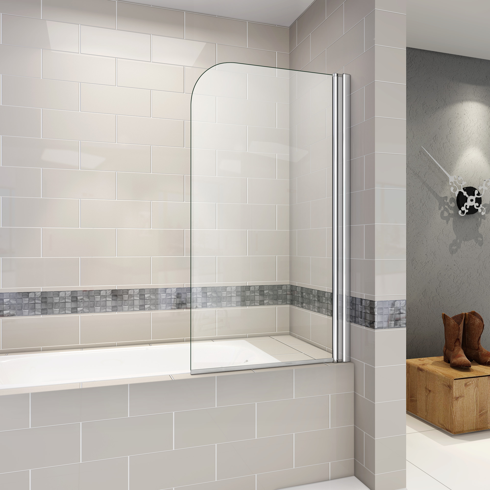badewanne aufsatz 180 duschwand trennwand duschabtrennung 80x140cm ebay. Black Bedroom Furniture Sets. Home Design Ideas