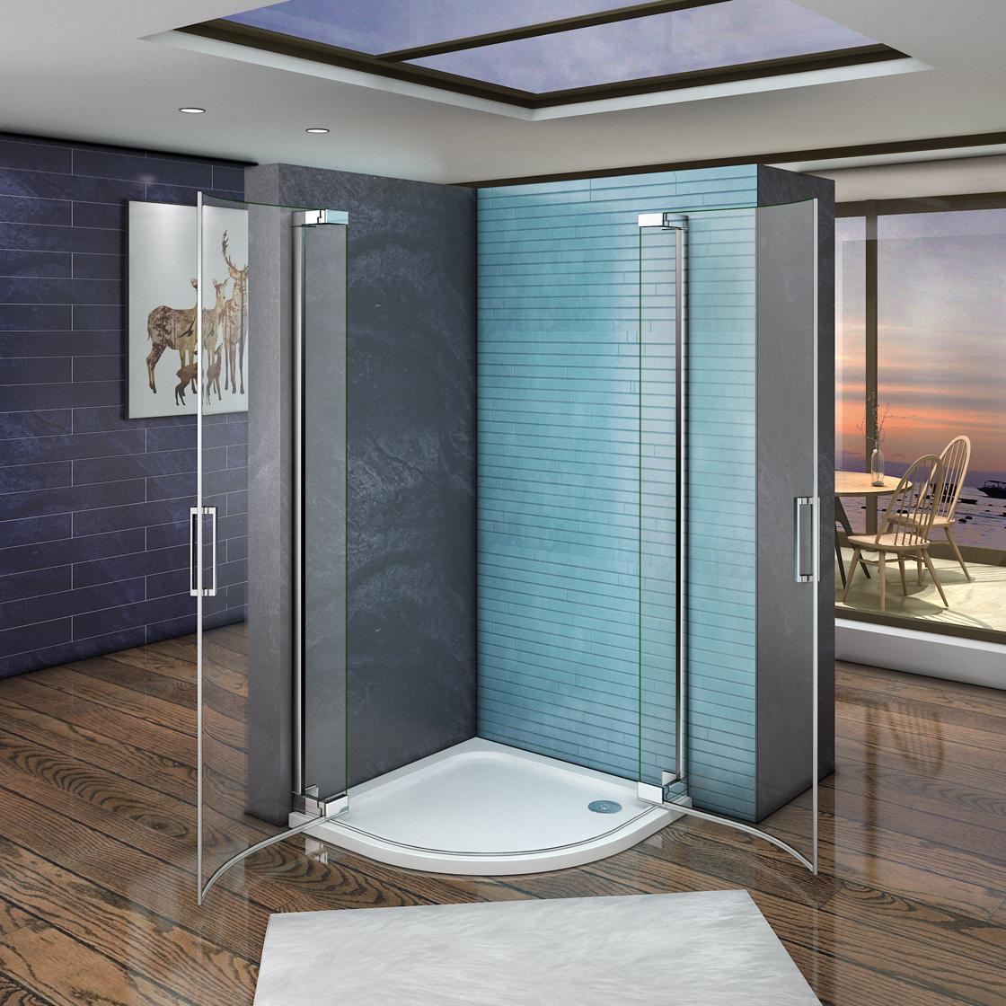 duschabtrennung viertelkreis runddusche duschkabine dreht r dusche ph 90x90x195 ebay. Black Bedroom Furniture Sets. Home Design Ideas