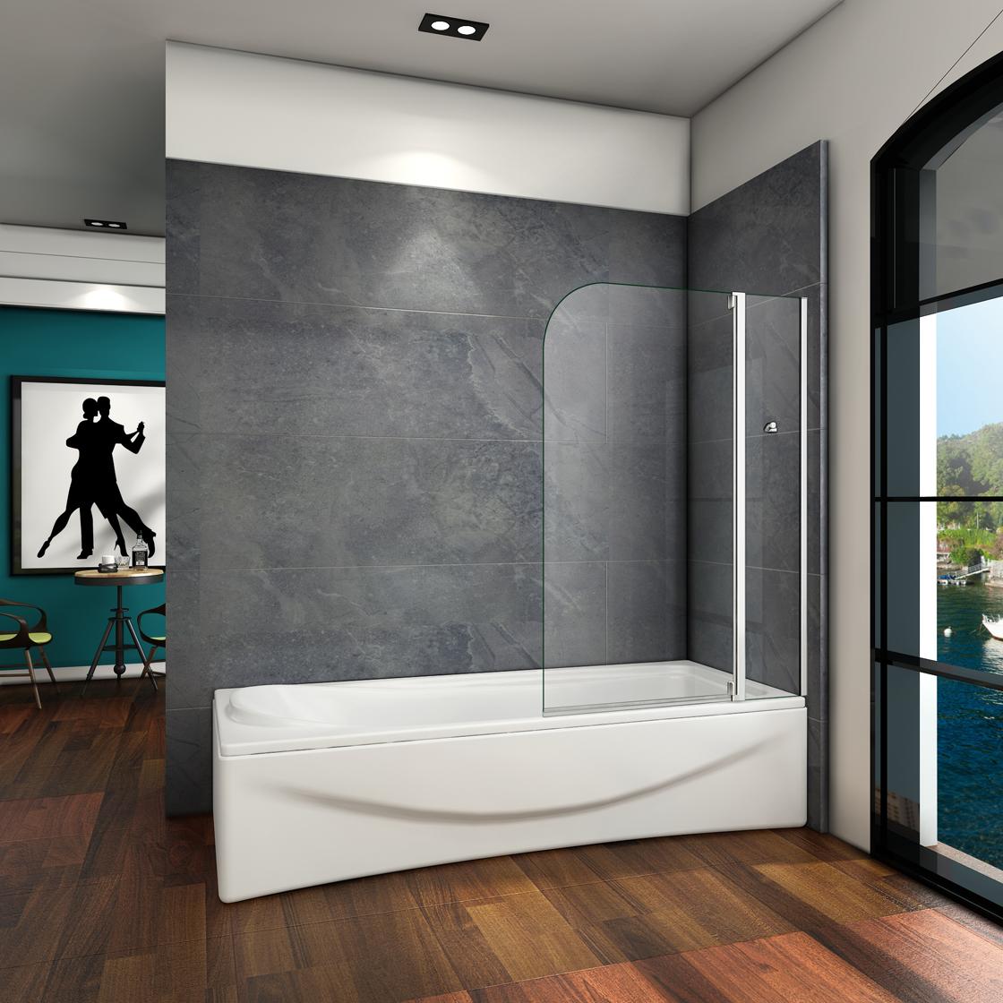 100x140cm badewannenaufsatz duschabtrennung trennwand badewannenaufsatz 2 teilig ebay. Black Bedroom Furniture Sets. Home Design Ideas