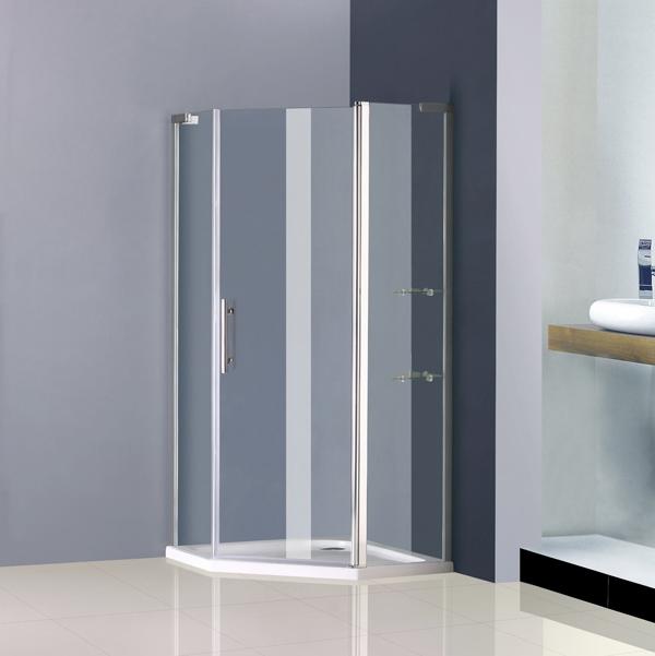 900x900mm Frameless Pivot Shower Enclosure Pentagon