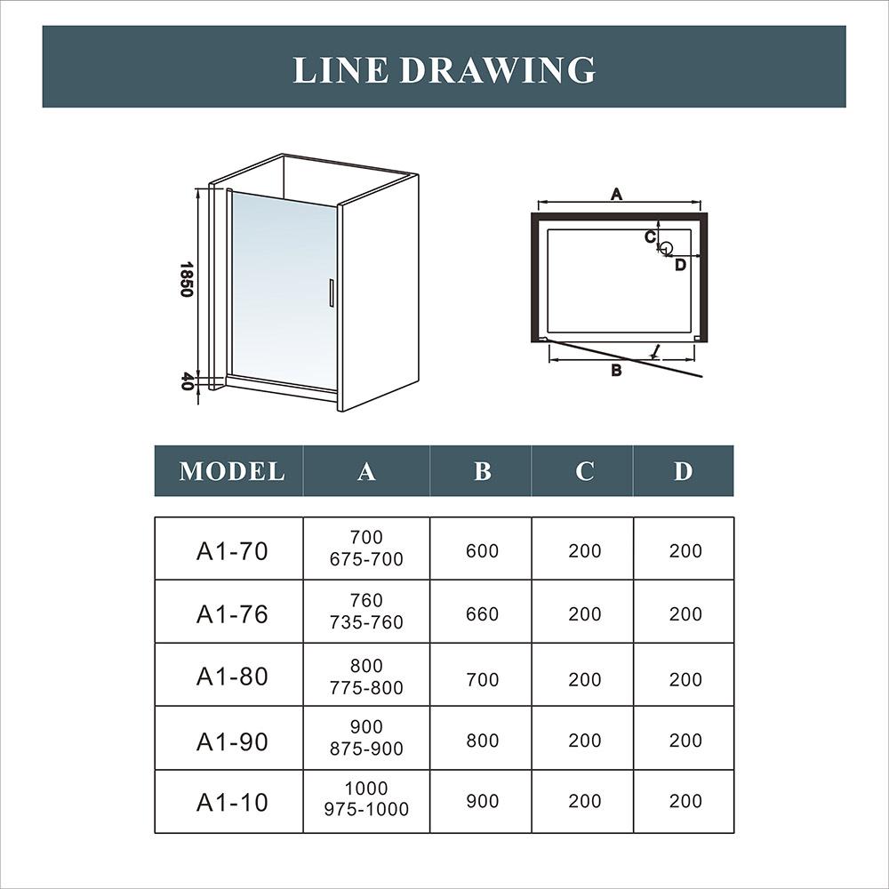 Aica 800x900mm Frameless Shower Enclosure 180 176 Swing