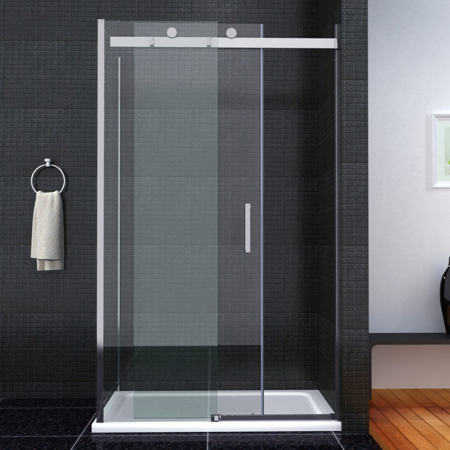 Luxury Frameless Sliding Shower Enclosure 8mm Glass Door Side Panel Stone Tray Ebay