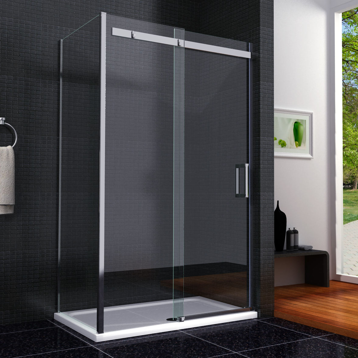 Details About Frameless Sliding Shower Door Enclosure 8mm Nano Glass Screen Side Panel Tray