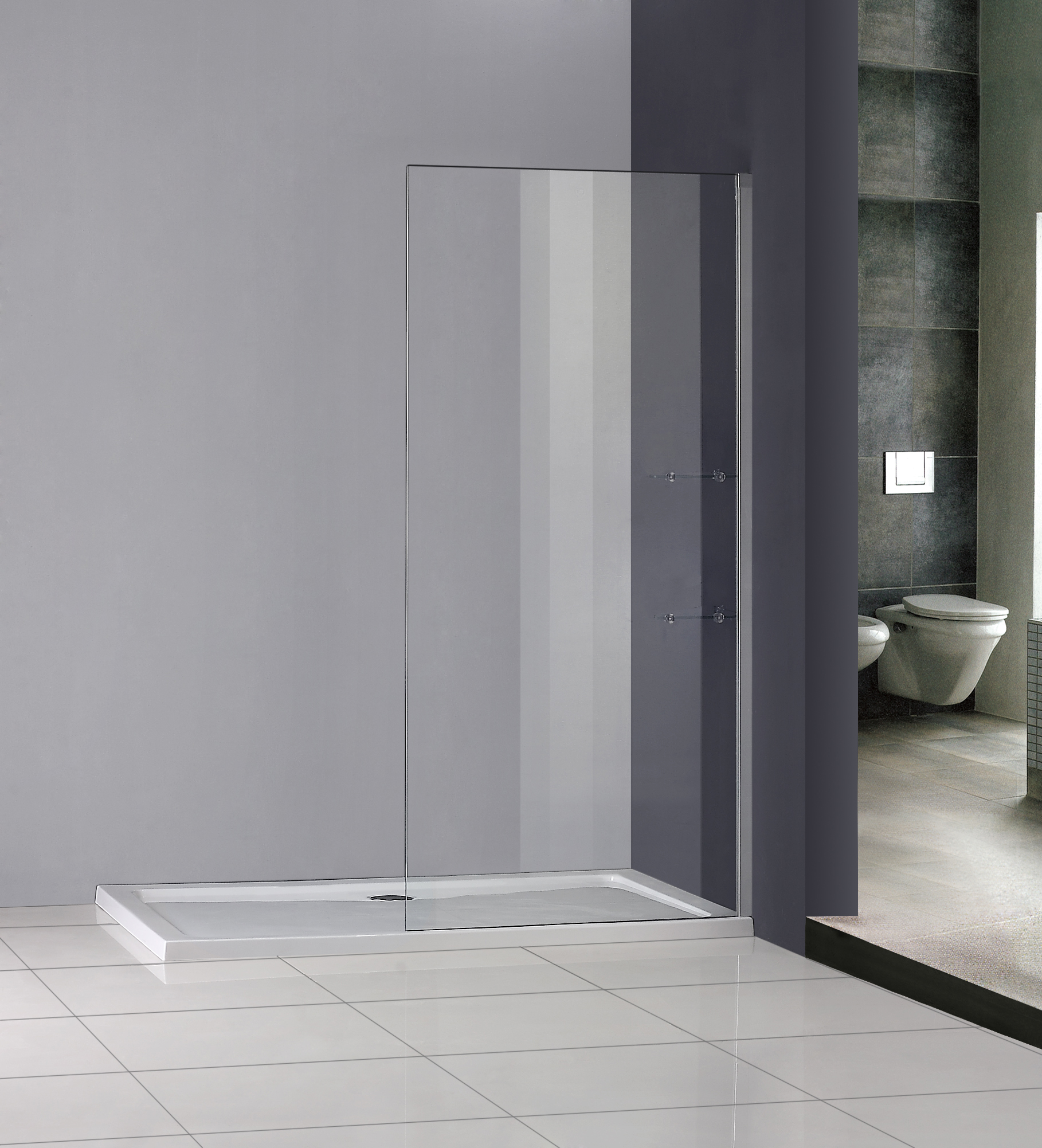 Luxury shower enclosure wet room walk in glass screen cubicle panel stone tray w ebay - Luxury shower cubicles ...