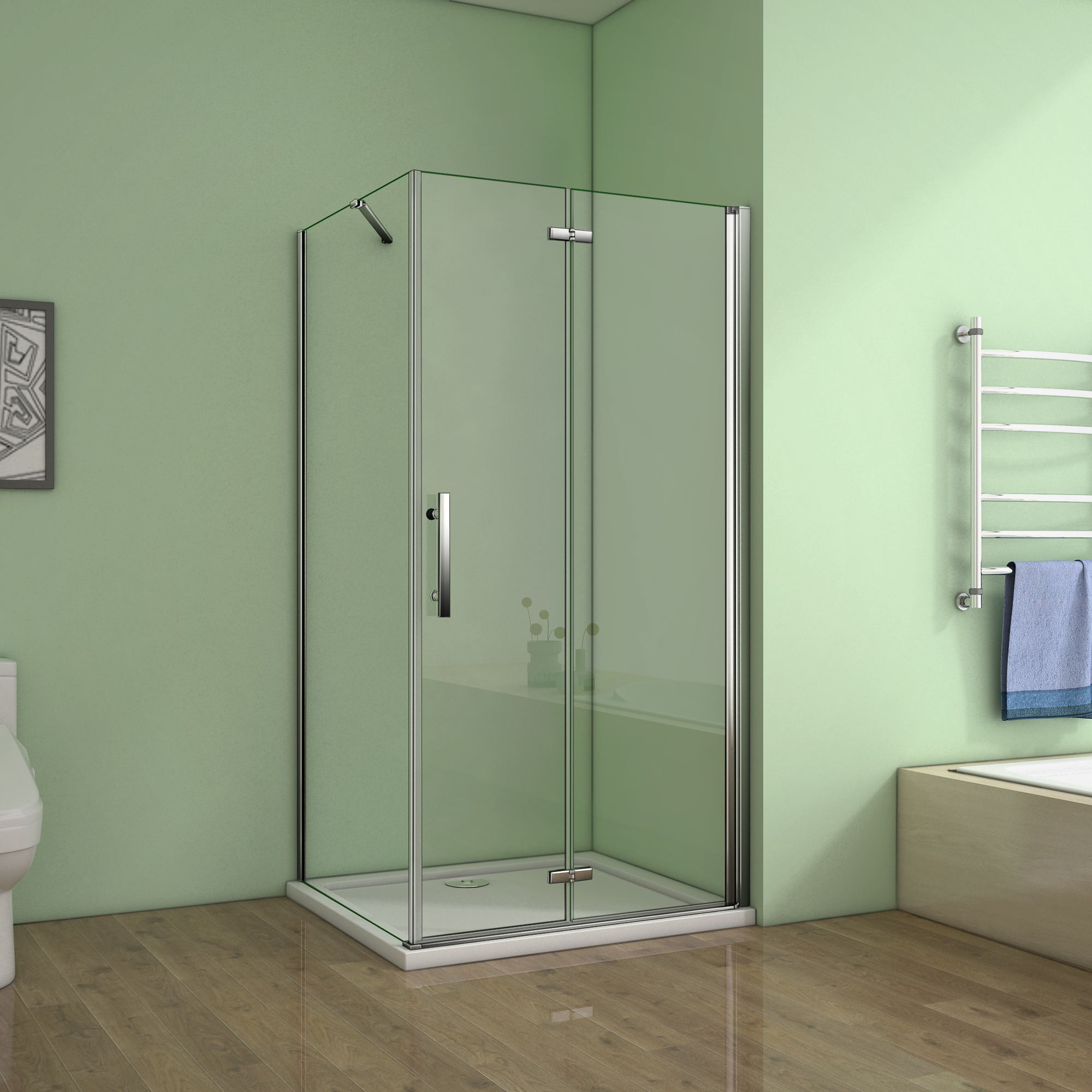 Details About Frameless Pivot Bifold Hinge Shower Enclosure Glass Cubicle Door Panel Tray Hpw