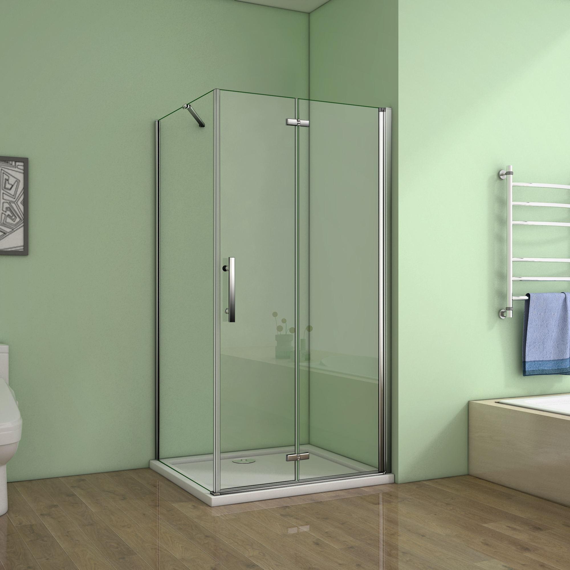 Frameless Pivot Bi Fold Hinge Shower Enclosure Glass Cubicle Door Panel Tray Hpw Ebay