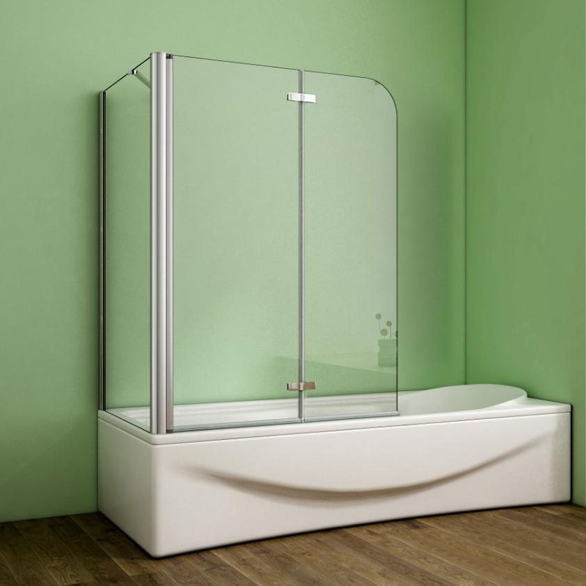 Faltwand Duschwand Echtglas B NANO Glas-Badewannenaufsatz Duschabtrennung 2-tlg