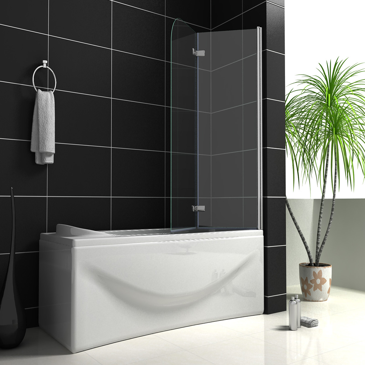 1200X1400mm Hinge Chrome 180° 2 Fold Bath Shower Screen Glass Door ...