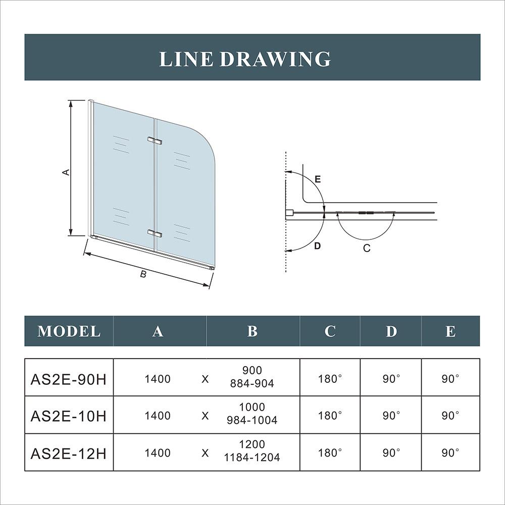 Pivot Folding Hinge Bath Screen Shower Door Panel 1400mm Glass
