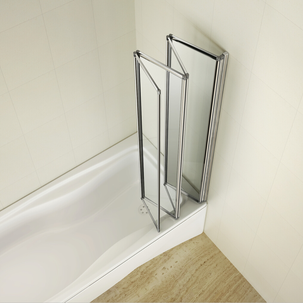 Aica 1000x1400mm 4 Folds Folding Bath Shower Screen Door Panel Over  Bathroom | EBay