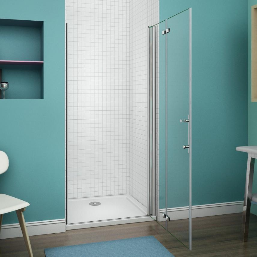 Aica frameless bi fold pivot shower enclosure 6mm glass for Bi fold screen doors