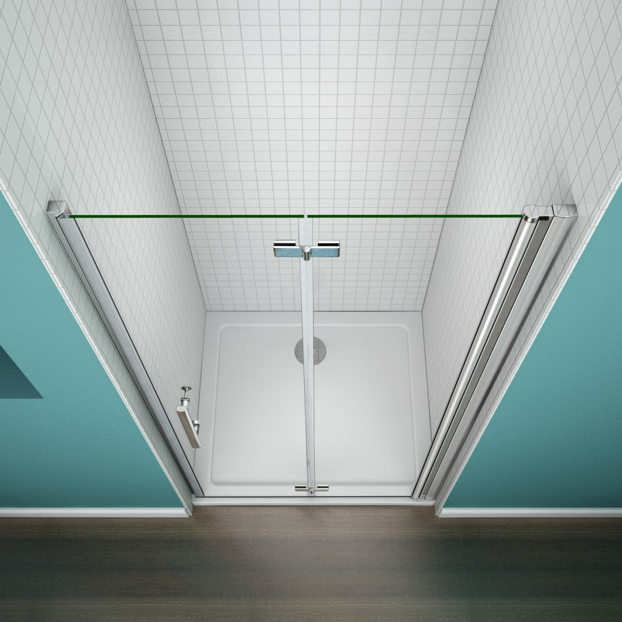 Aica frameless bi fold pivot shower enclosure 6mm glass for 1000 bi fold shower door