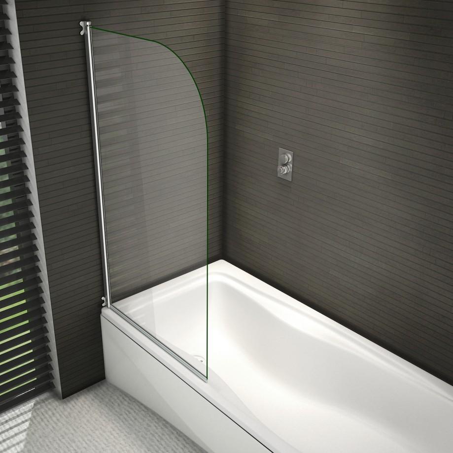 800x1400mm Chrome 180 176 Pivot Radius 6mm Glass Over Bath