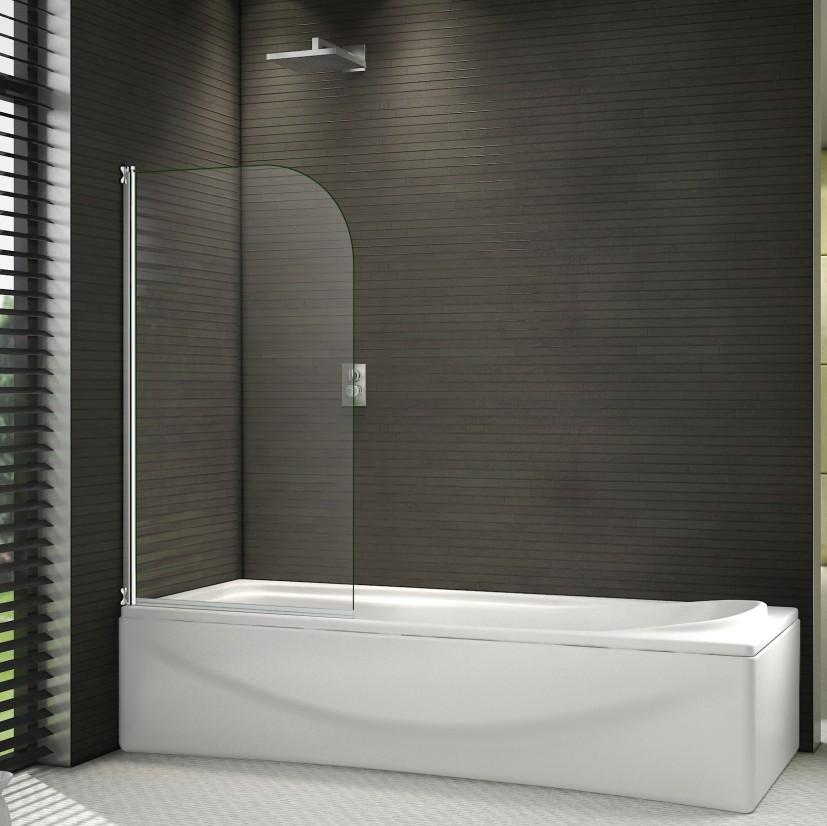 800x1400mm Chrome 180° Pivot Radius 6mm Glass Over Bath Shower ...