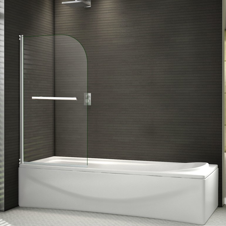 800x1400mm 180° Pivot Bath Shower Screen 6mm Glass Over Door panel ...