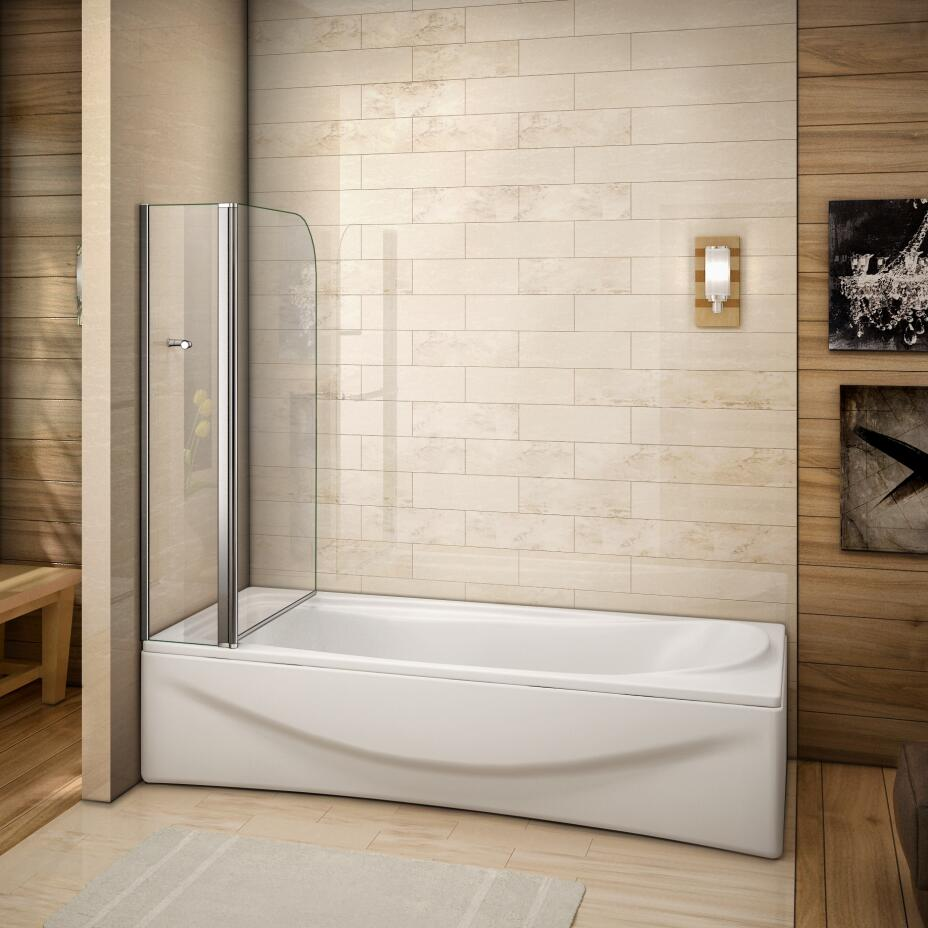 1000x1400mm Chrome 240 Pivot Bath Shower Screen 6mm Glass