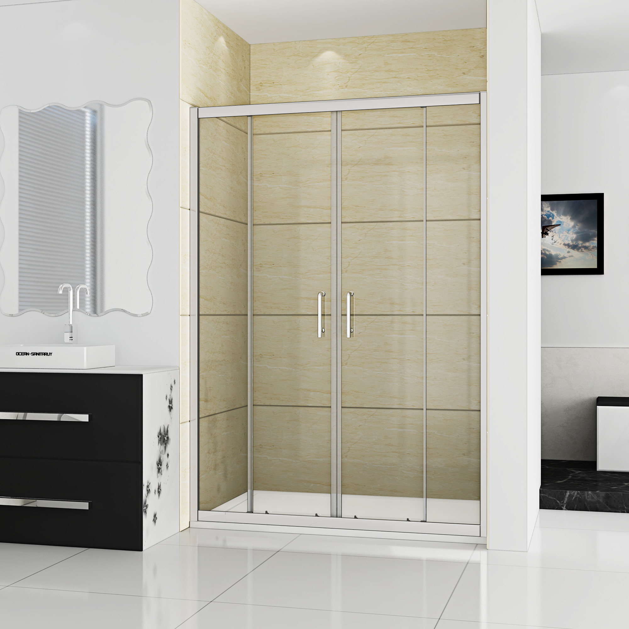 Two Panel Sliding Shower Bath Screen Glass Shower Screens