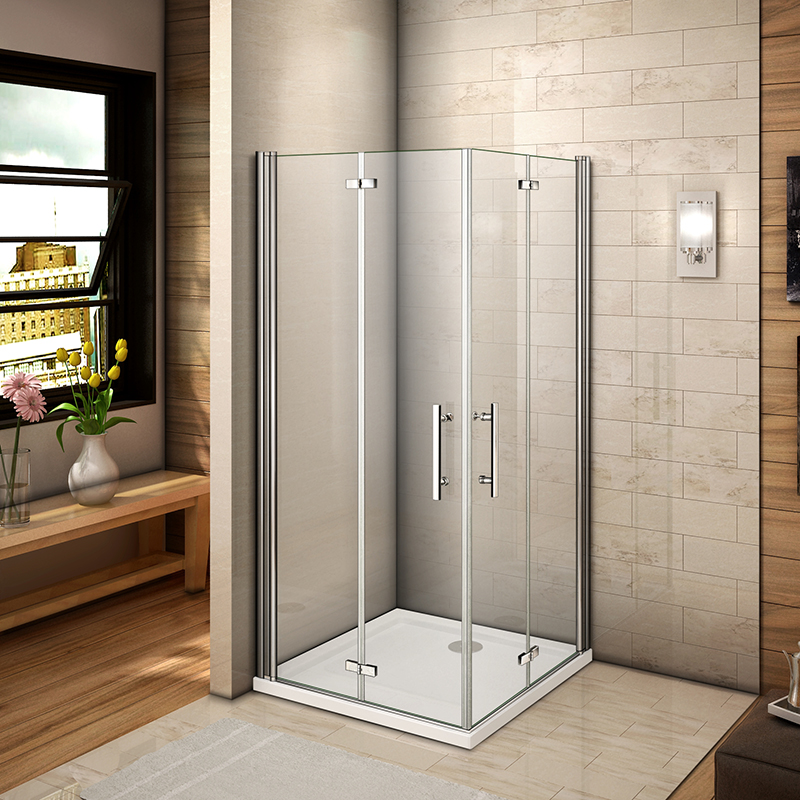 Aica Frameless Double Bi Fold Shower Door Enclosure Tray 700 760 800 900 1000mm Ebay