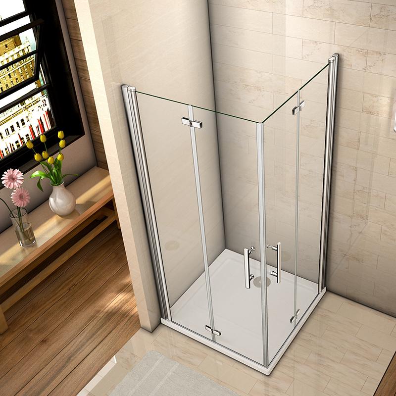 Aica Frameless Double Bi Fold Shower Door Enclosure Tray