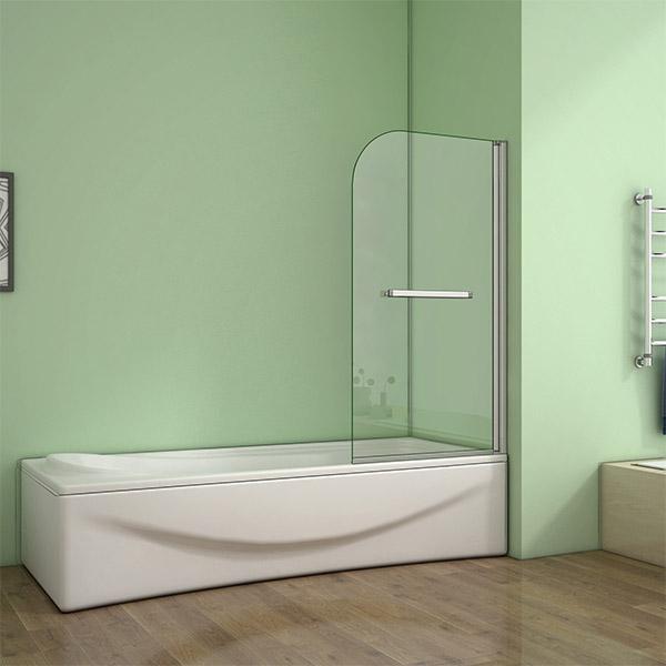 800x1400mm Aica 180 Pivot Bath Shower Screen 5mm Satefy
