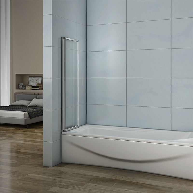 Aica 1 2 Fold Over Bath Folding Shower Screen 4mm Glass