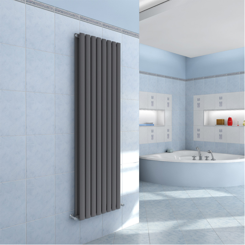 Home & Kitchen AICA Radiator Double Oval Column Upright Heater Anthracite 1600x354mm