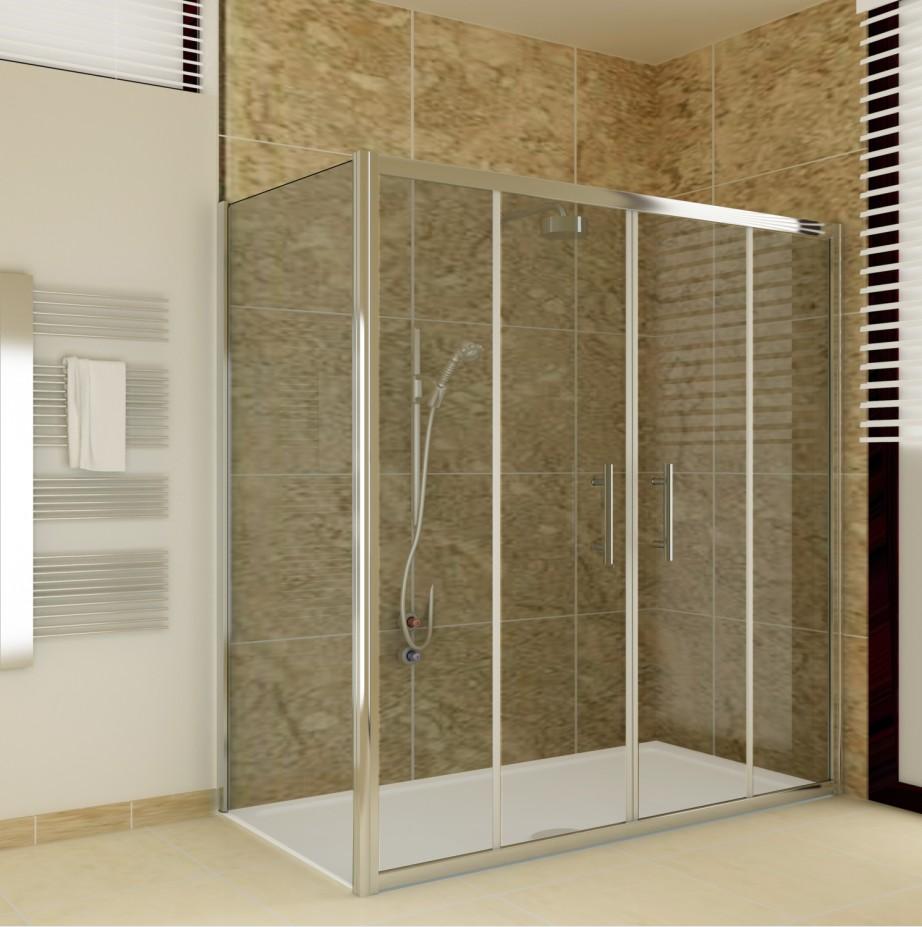 Chrome Sliding Bathroom Walk In Double Shower Door Enclosure Screen ...
