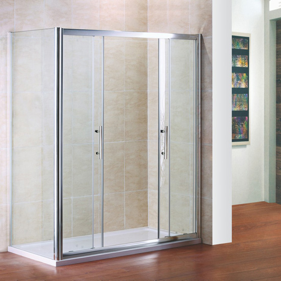 Shower enclosure double sliding door glass cubicle screen for Universal sliding screen door