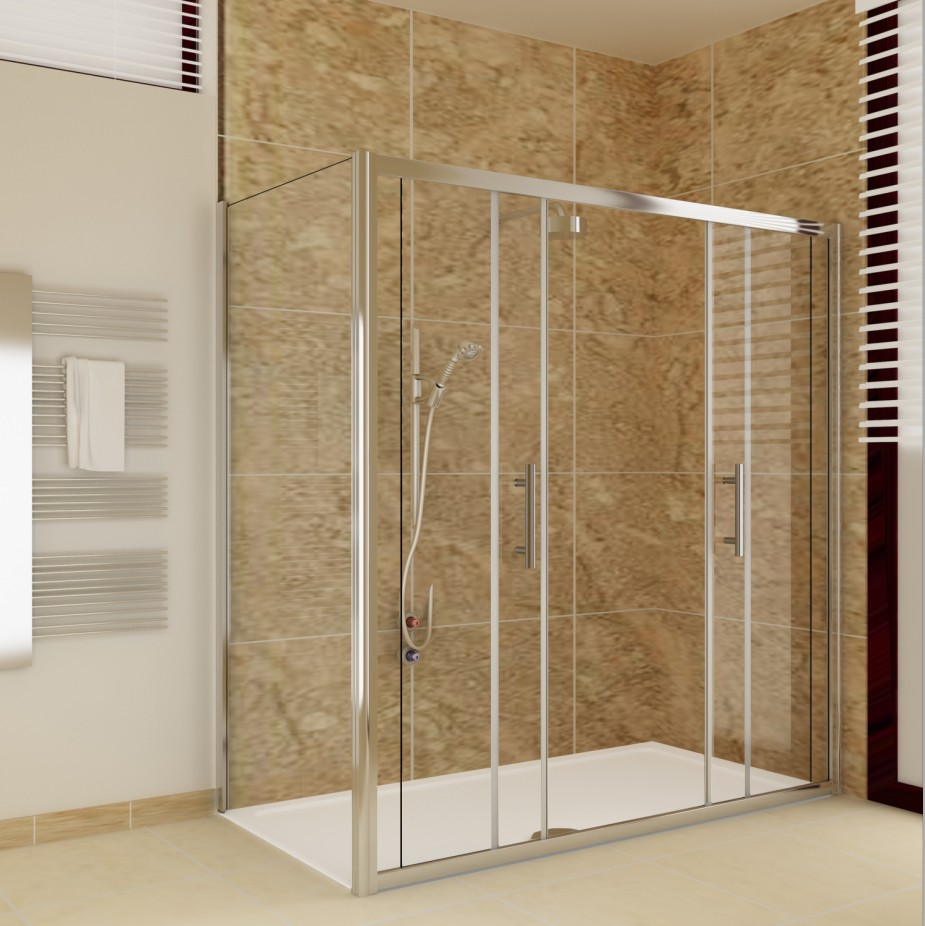Chrome sliding bathroom walk in double shower door for Double sliding screen door