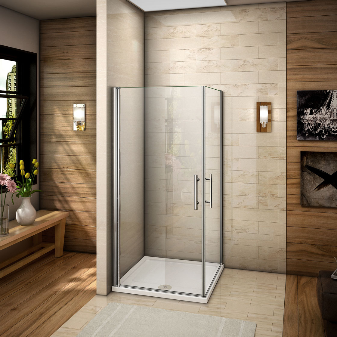 duschkabine eckeinstieg duschabtrennung schwingt r dreht r. Black Bedroom Furniture Sets. Home Design Ideas